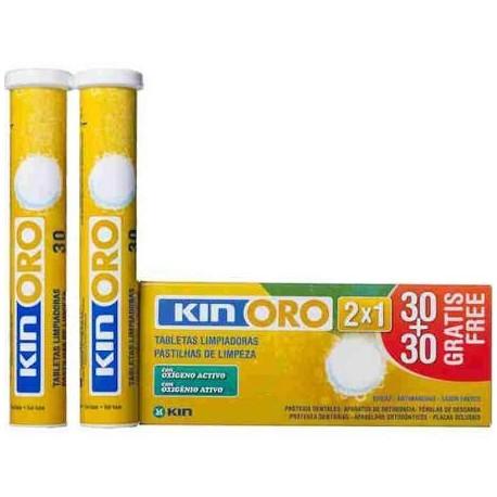 Kin Oro Tabletas Limpiadoras con Oxígeno Activo 30+30